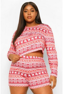 Red Plus All Over Fairisle Print Christmas PJ Short Set