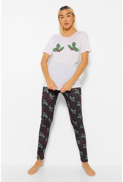 Black Christmas Holly T Shirt and Leggings Pyjamas Set