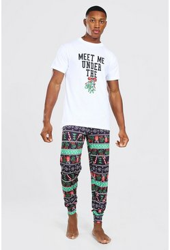 Black His Meet Me Under The Mistletoe Pj Set