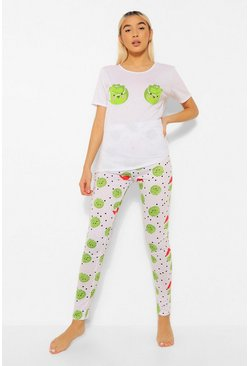 Cream white Sprouts Leggings Christmas Pyjamas Set