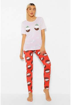 Red Christmas Pudding Pyjama Set