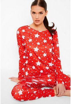 Red Star Print Jersey Christmas Pyjama Set