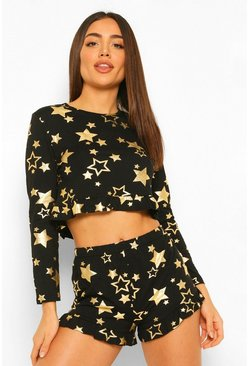 Black Metallic Star Frill Pj Short Set