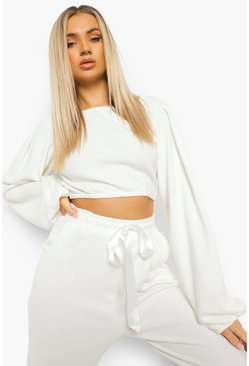 Cream white Brushed Rib Balloon Sleeve Lounge Top