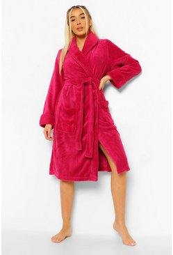Berry red Waffle Shawl Collared Gown