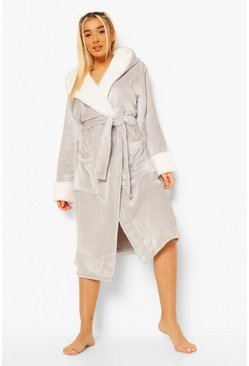 Grey Contrasterende Fleece Ochtendjas