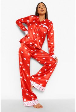 Red Heart Contrast Satin Pyjamas