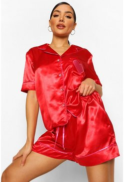 Red Satin Heart Applique Pajama Set