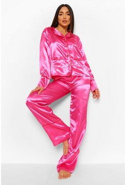Hot pink pink Heart Button Satin Pajama Set