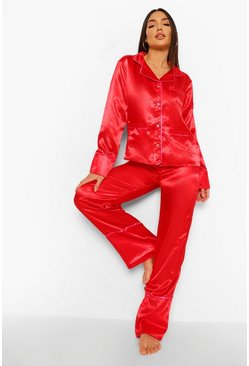 Red Heart Button Satin Pyjama Set