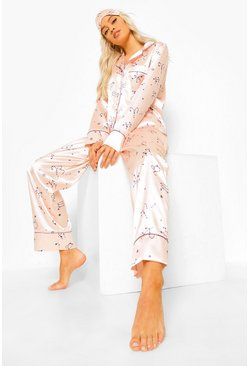 Rose gold metallic Satin Star Sign Pjs In A Bag