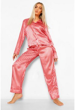 Hot pink pink Candy Stripe Satin Pj Trouser Set