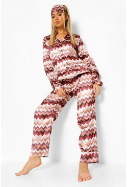 Chocolate brown Zig Zag 5pc Satin Pj Set