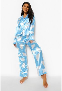 Blue Cloud Print Satin Pjs In A Bag