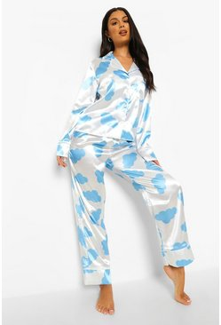 White Cloud Print Satin Pjs In A Bag