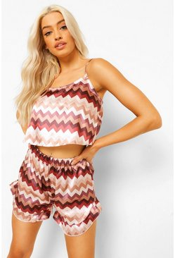 Chocolate brown Zig Zag Satin Frill Pj Short Set