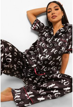 Black Kiss Satin Pajamas