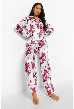 Cream white Rose Print Satin Pyjamas