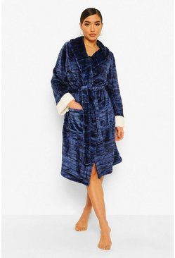 Navy Contrast Cuff Dressing Gown