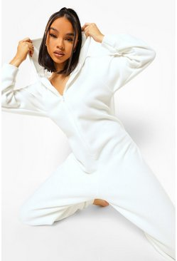 Cream white Fleece Zip Up Onesie