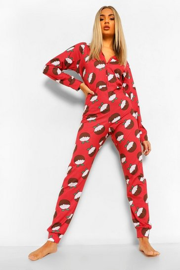 Red Christmas Pudding Jersey Onesie