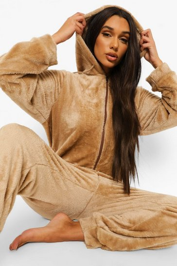 Beige Fluffy Ear Onesie