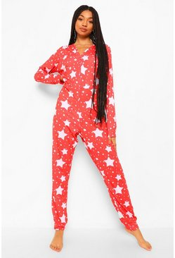 Red Star Print Jersey Onesie