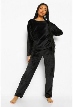 Black Fluffy Pyjama Set