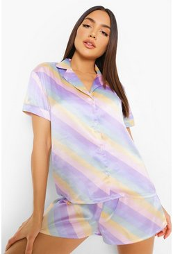 Multi Pastel Stripe Satin Pyjama Short Set