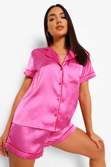 Hot pink pink Contrast Piping Satin Valentines Pj Shorts Set
