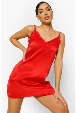 Red Eyelash Lace Trim Satin Chemise