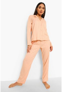 Rose gold metallic Jacquard Stripe Satin Pajamas