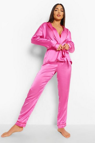 Hot pink pink Contrast Piping Satin Valentines Pyjama Set