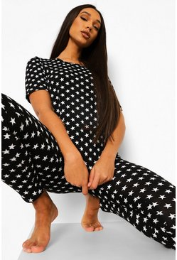 Black Tall All Over Star Print Short Sleeve Pyjama Set