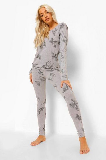 Grey Tall Butterfly Print Long Sleeve Pyjama Set