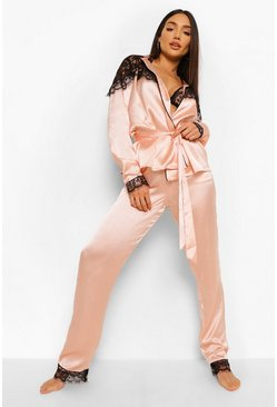 Rose gold metallic Pyjamas med omlott och spets
