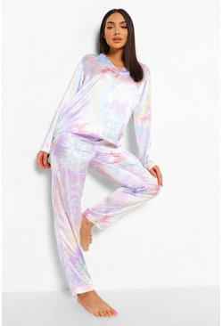 Multi Tie Dye Satin Pyjamas