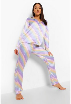 Multi Pastel Stripe Satin Pyjamas