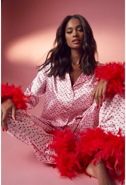 Pink Premium Heart Feather Pyjamas