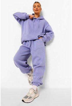 Purple Tall Woman Embroidered Hoody Tracksuit