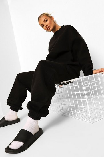 Black Tall Basic Sweatshirt And Jogger Tracksuit