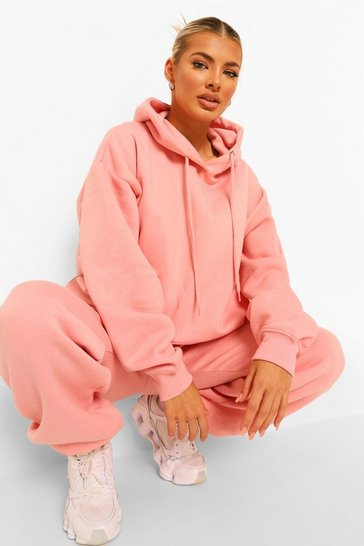 Pink Tall Basic Hoody And Jogger Tracksuit