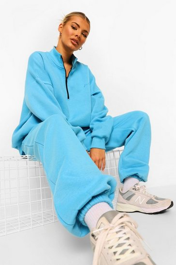 Blue Tall Woman Embroidered Half Zip Tracksuit