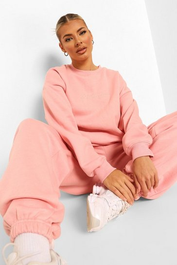 Pink Tall Woman Embroidered Sweatshirt Tracksuit