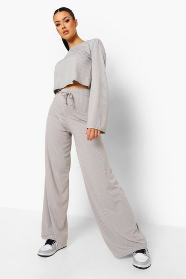 Grey Tall Rib Lounge Set