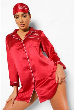 Red Love You Nightshirt and Mask Set