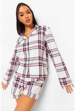 Baby pink Flannel Check Pyjama Short Set