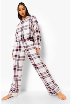 Baby pink pink Flannel Check Pyjama Set