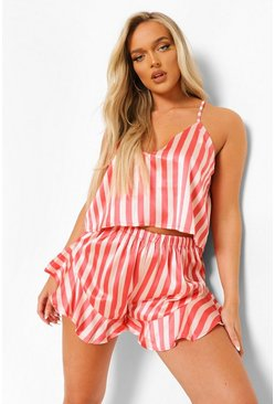 Nude Striped Satin Cami and Short Set