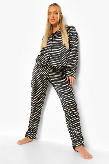 Black Ditsy Polka Satin Pyjamas